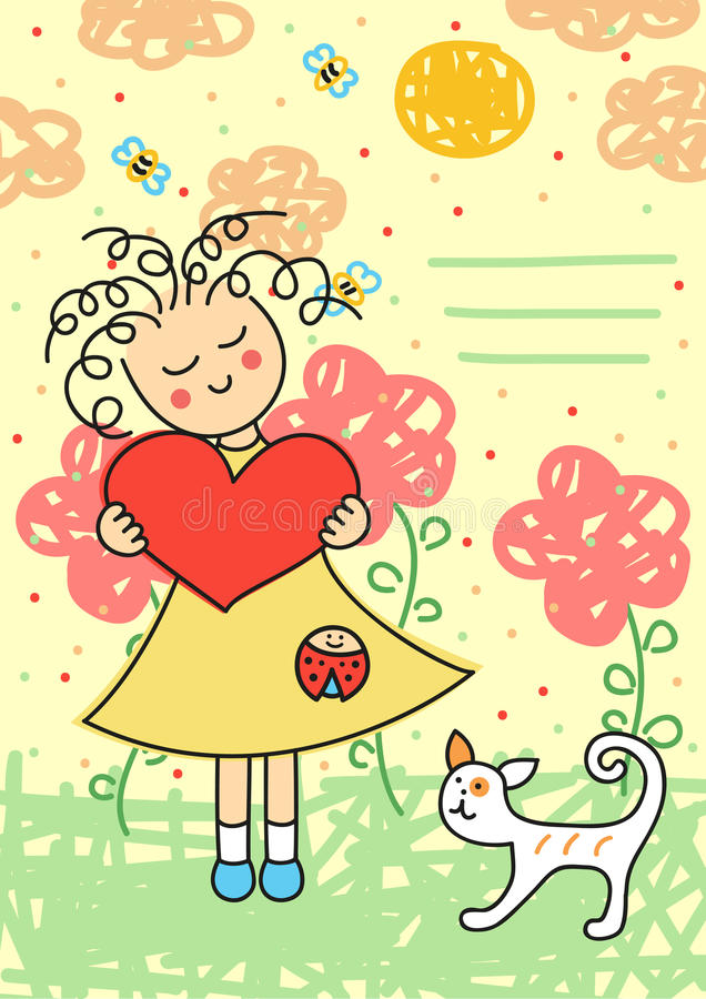 Valentijnskaartenkaart stock illustratie