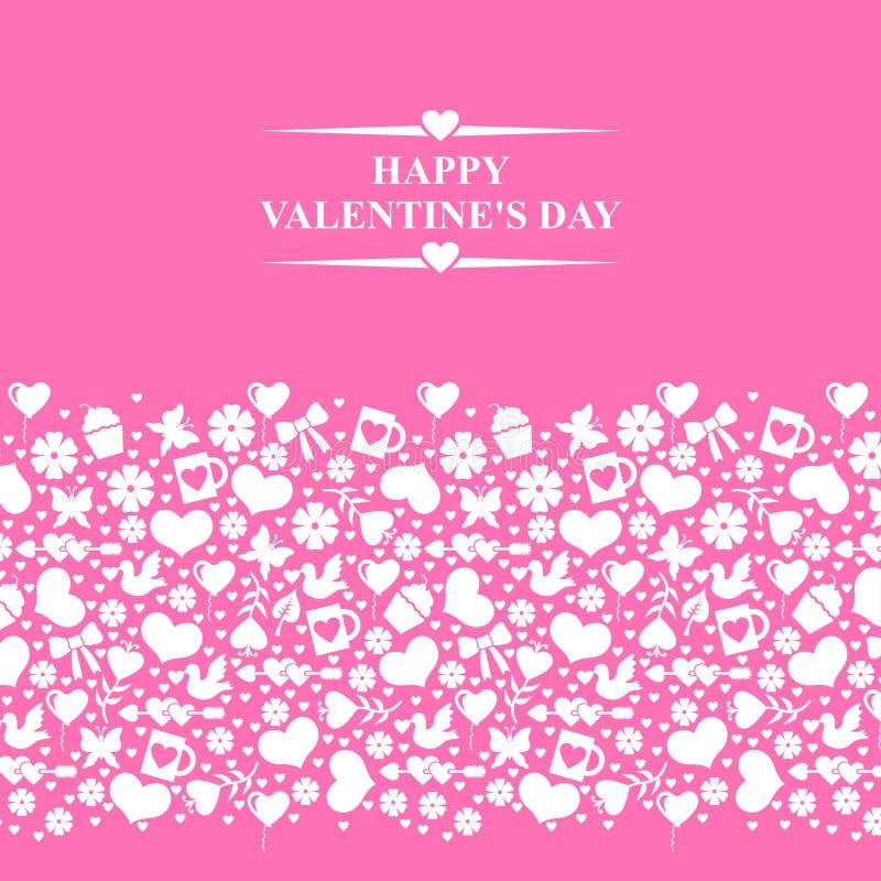 Valentijnskaartenkaart met horizontaal valentijnskaartenornament op roze rug stock illustratie