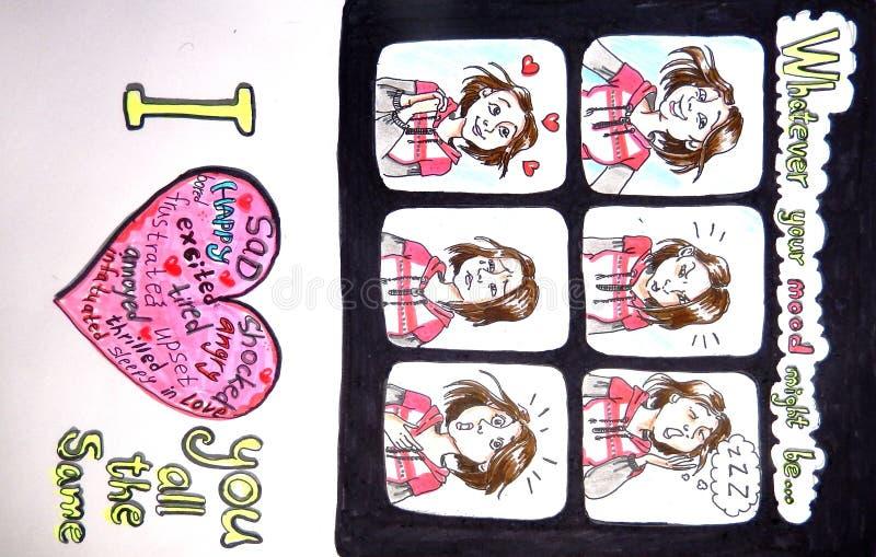 Valentijnskaartenkaart - wat er ook uw stemming zou kunnen zijn royalty-vrije illustratie