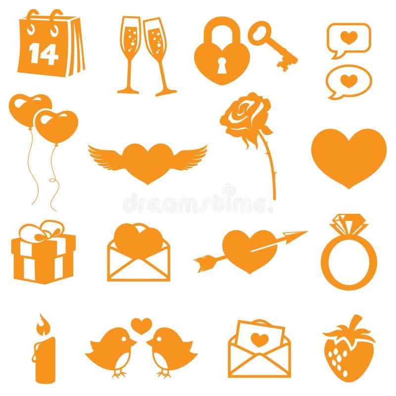 Valentijnskaartenpictogrammen vector illustratie