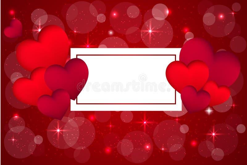Valentim \ 'fundo vermelhos do dia de s com corações 3d no fundo bonito do bokeh Bandeira ou cartão bonito e criativo do amor pla ilustração royalty free