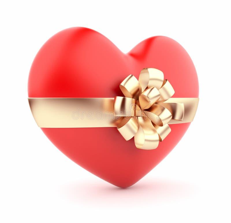 Valentim atual. Coração vermelho 3D. Isolado ilustração do vetor