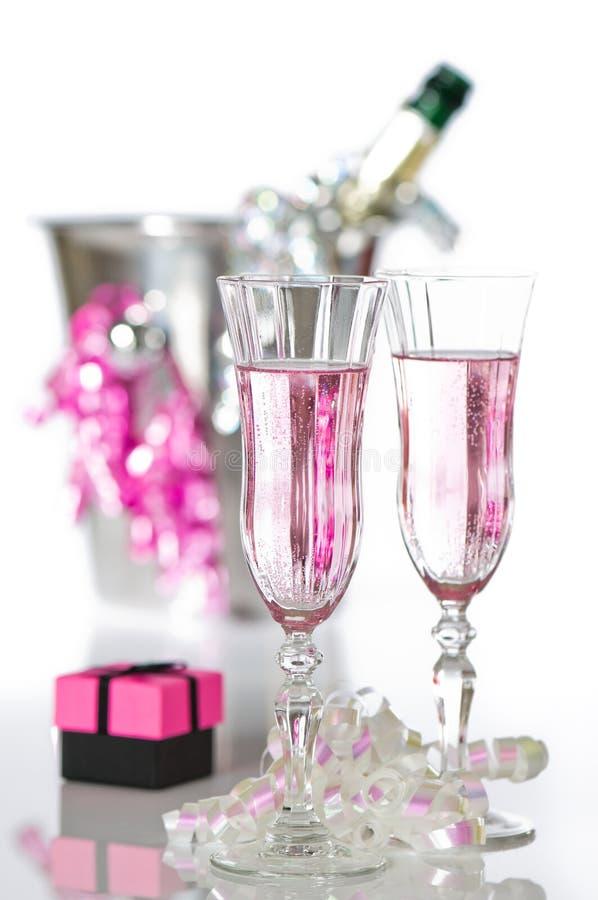 Valentim Champagne cor-de-rosa fotos de stock