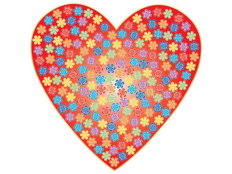 Valentim com flores ilustração royalty free