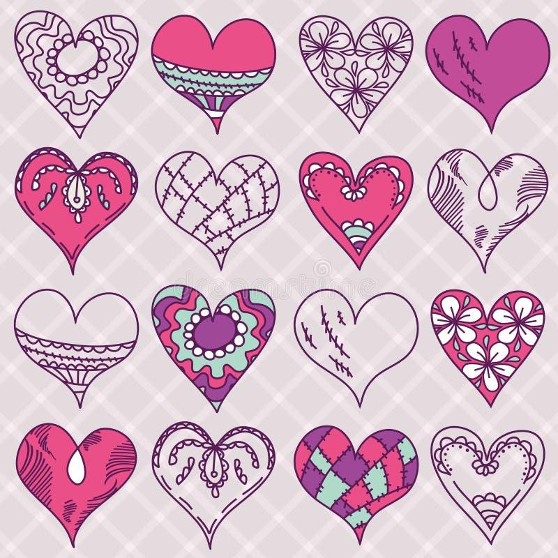 Valentim coração do desenho da mão, vetor ilustração royalty free
