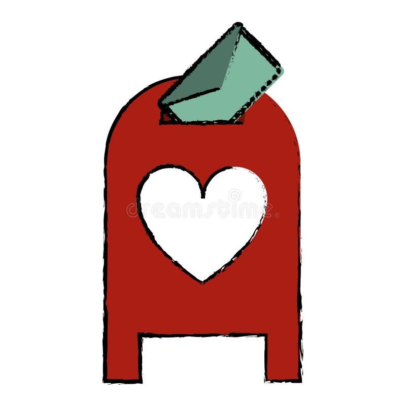 Valentim da mensagem da caixa do cargo do correio do amor do desenho ilustração royalty free