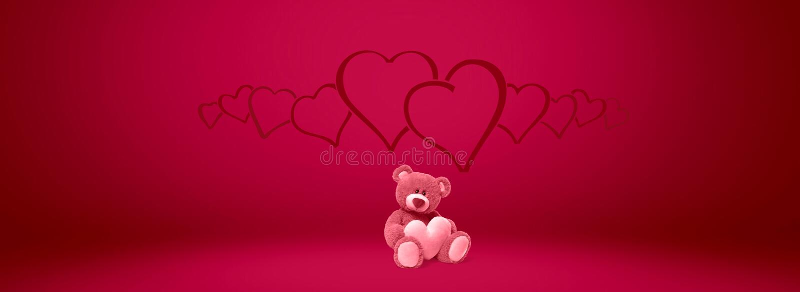 Valentim do coração do dia da peluche do urso e amor, Valentim, fundo ilustração stock