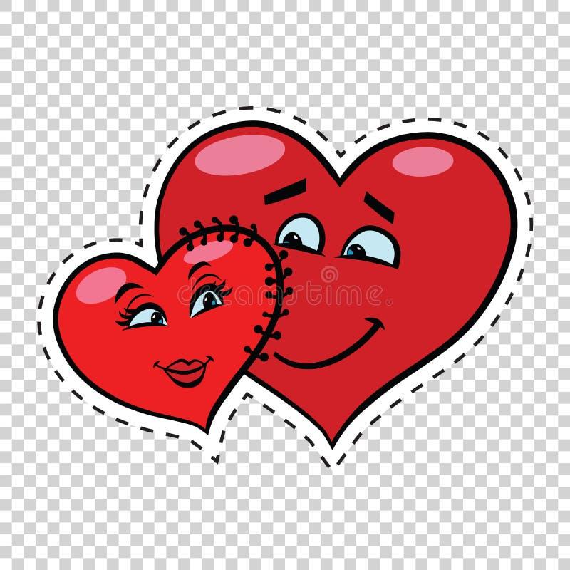 Valentim do coração dos pares do amor costurado entre si ilustração do vetor
