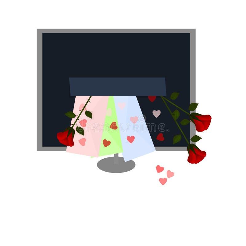 Valentim do email - amor em linha ilustração stock