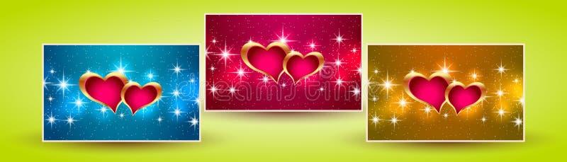 Valentim dos corações das bandeiras ilustração stock
