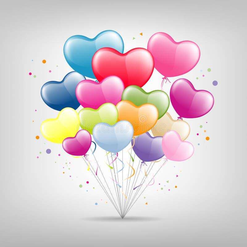 Valentim feliz do coração colorido do balão, vetor ilustração royalty free