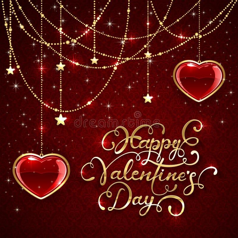 Valentim que rotulam e corações de brilho no fundo vermelho ilustração stock