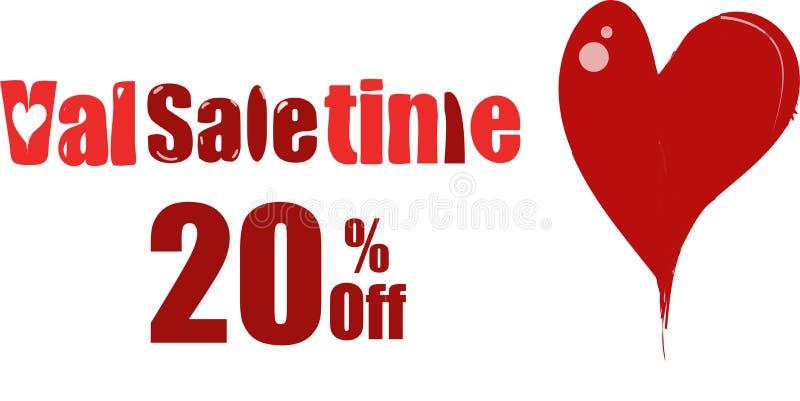 ValenTime, ValSaletime, ValSaletine, продажа ` s валентинки Святого иллюстрация вектора