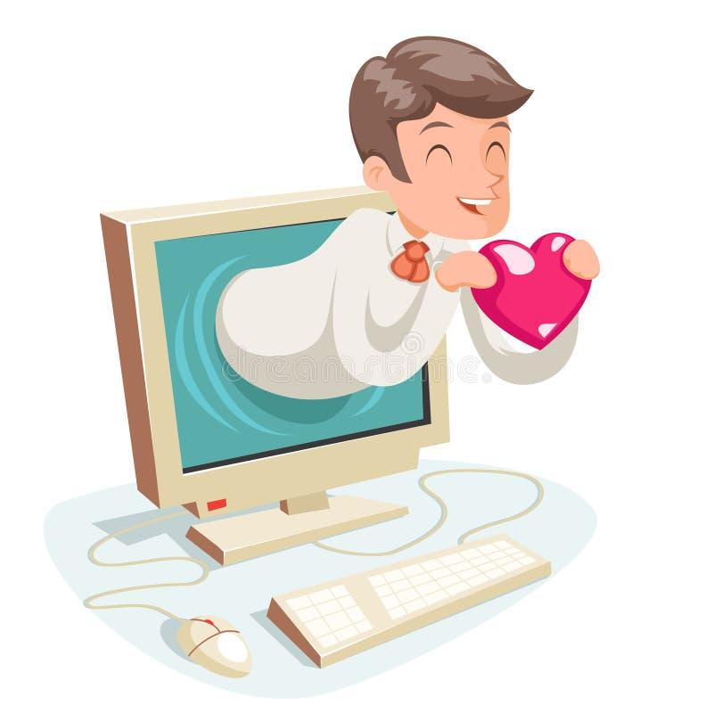 Valentin天互联网逗人喜爱的愉快的商人举行问候爱心脏监护器背景动画片设计传染媒介 皇族释放例证