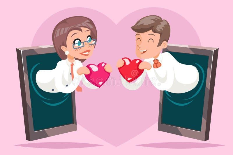 Valentin天互联网逗人喜爱的愉快的女实业家商人举行问候爱心脏手机背景动画片 库存例证