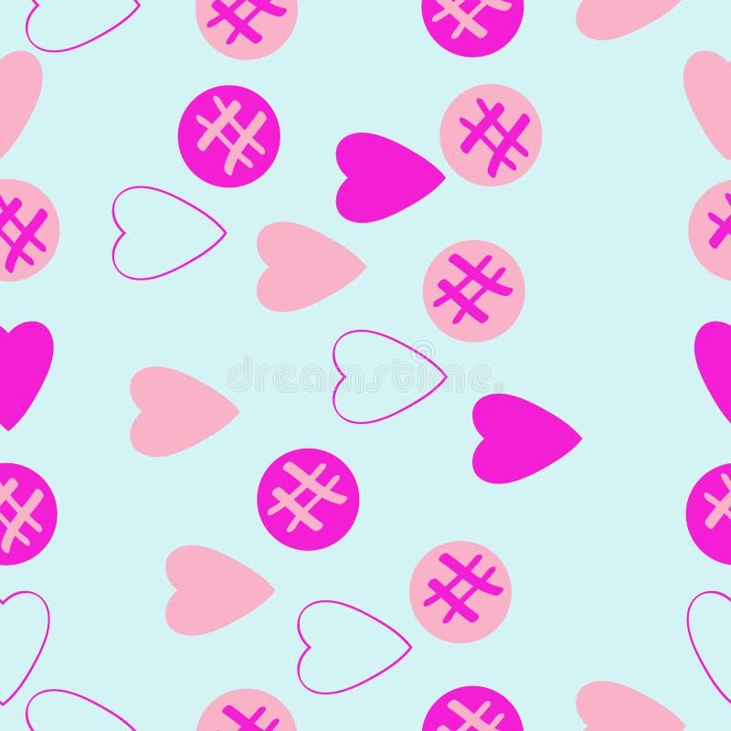 Valentin无缝的样式,心脏,椭圆乱写 拉长的现有量 向量例证