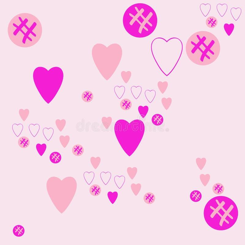 Valentin样式,心脏,椭圆杂文 拉长的现有量 向量例证