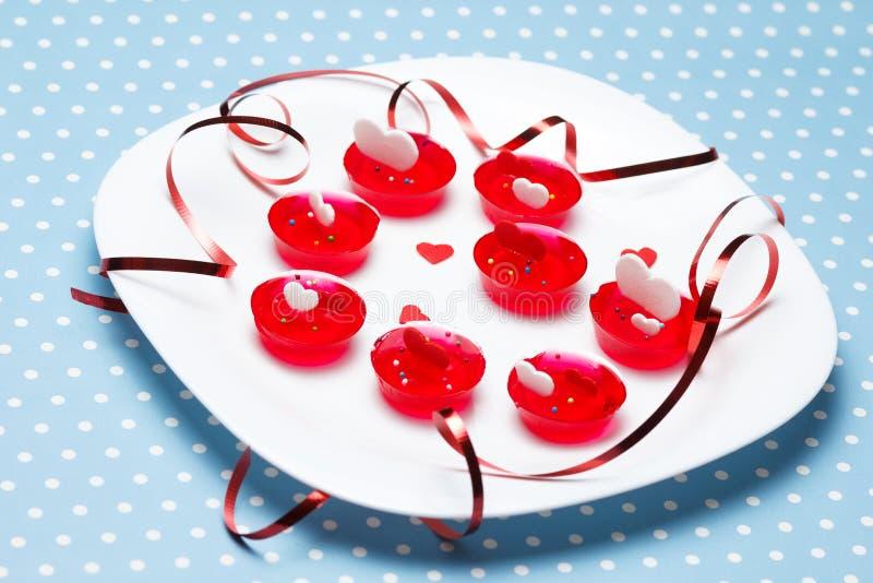 Valentin öknar för gelatin för dagförälskelse arkivbilder