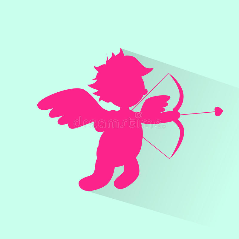 Valentin Angel With Bow Arrow Cupid kontur royaltyfri illustrationer