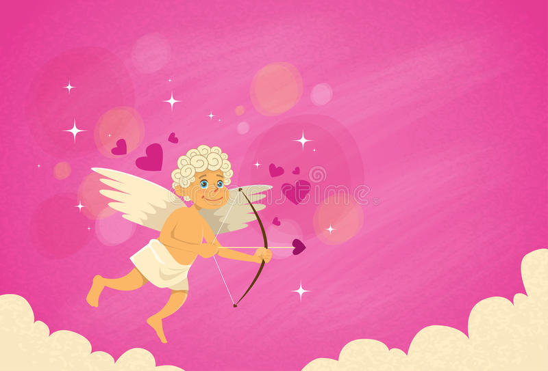 Valentin Angel Cupid Bow Arrow Saint valentin stock illustrationer
