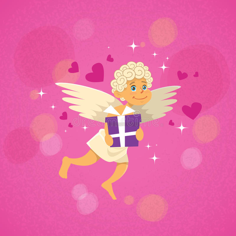 Valentin Angel Cupid With Present Saint Valentine Holiday vektor illustrationer