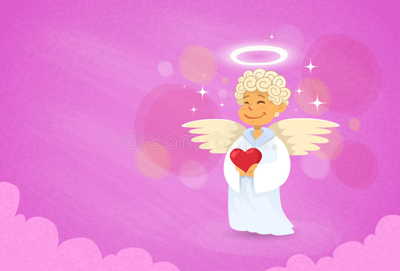 Valentin Angel Cupid Saint Valentine Holiday stock illustrationer