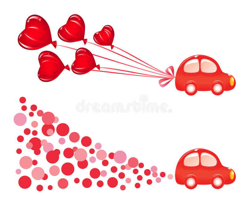 Valentin banner with car. Vector-Illustration vector illustration