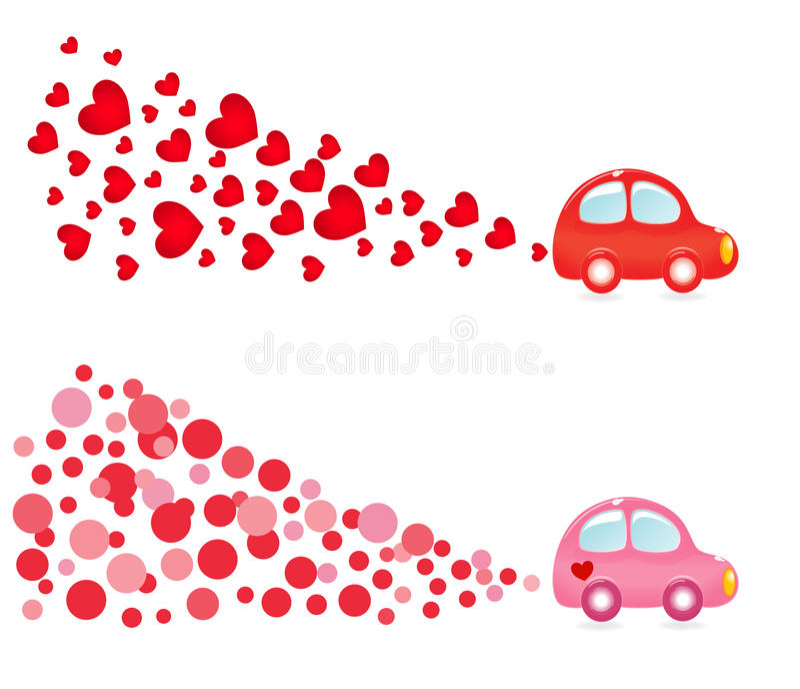 Valentin banner with car. Vector-Illustration stock illustration