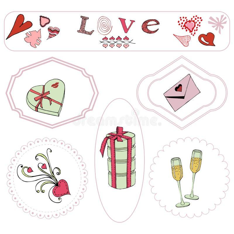 Valentin beståndsdelar för dagtema Utdragna och kulöra objekt för hand i ram vektor illustrationer