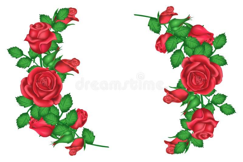 Valentin bucklar rosor för hälsningkortet, girlander av rosor vektor illustrationer