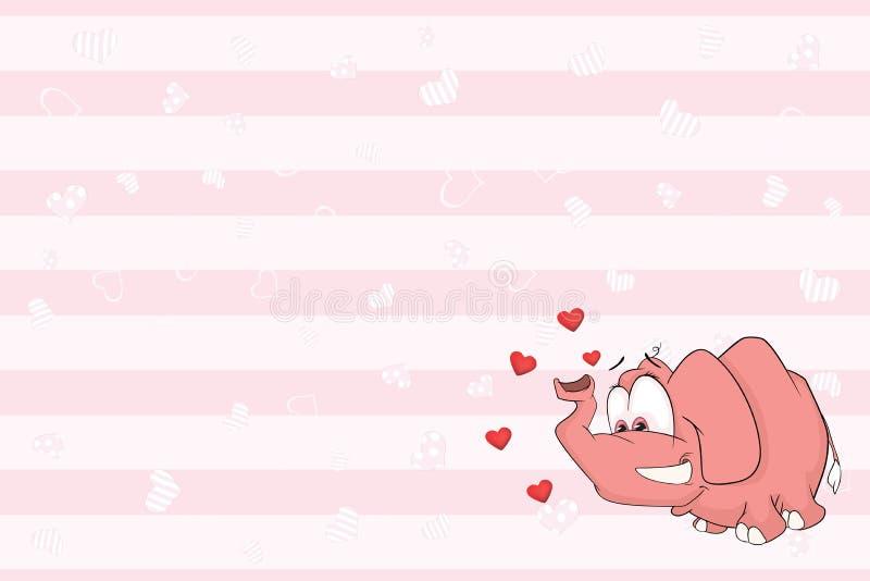 Valentin card med den gulliga elefantillustrationen royaltyfri illustrationer