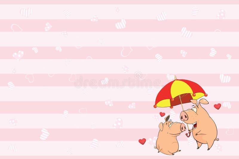 Valentin card med den gulliga svinillustrationen vektor illustrationer