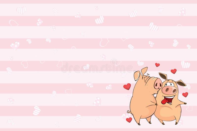 Valentin card med den gulliga svinillustrationen royaltyfri illustrationer