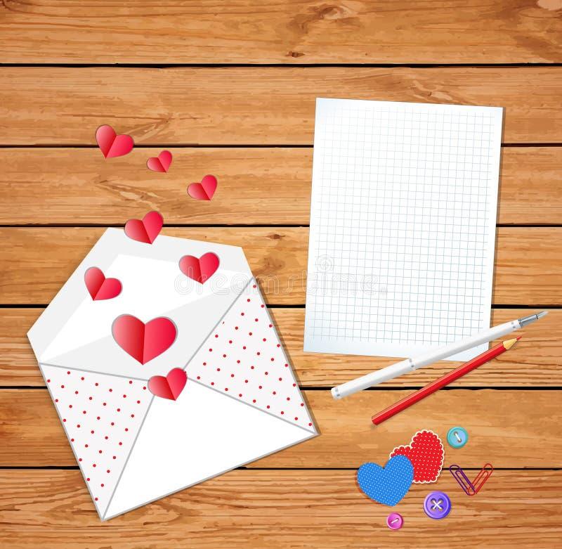 Valentin card med det öppnade kuvertet och tömmer mellanrumet vektor illustrationer