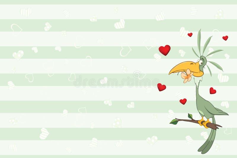 Valentin card med en grön papegoja illustration stock illustrationer