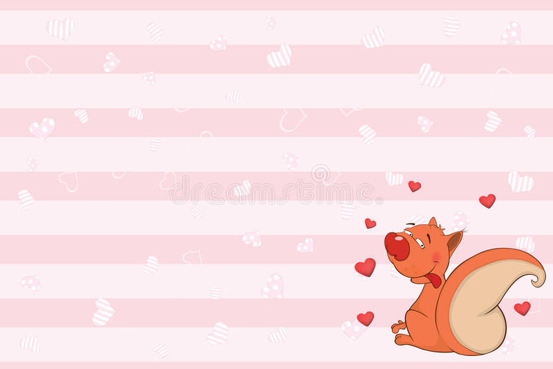 Valentin card med en gullig ekorreillustration stock illustrationer