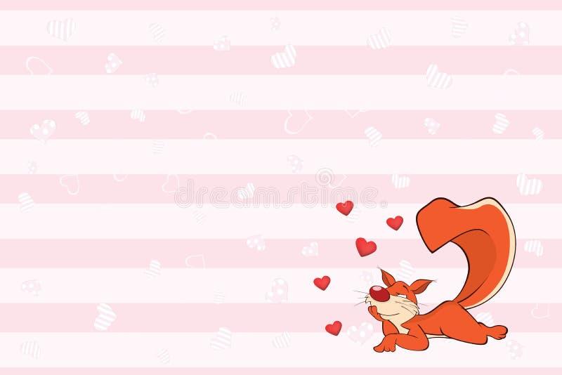 Valentin card med en gullig ekorreillustration royaltyfri illustrationer