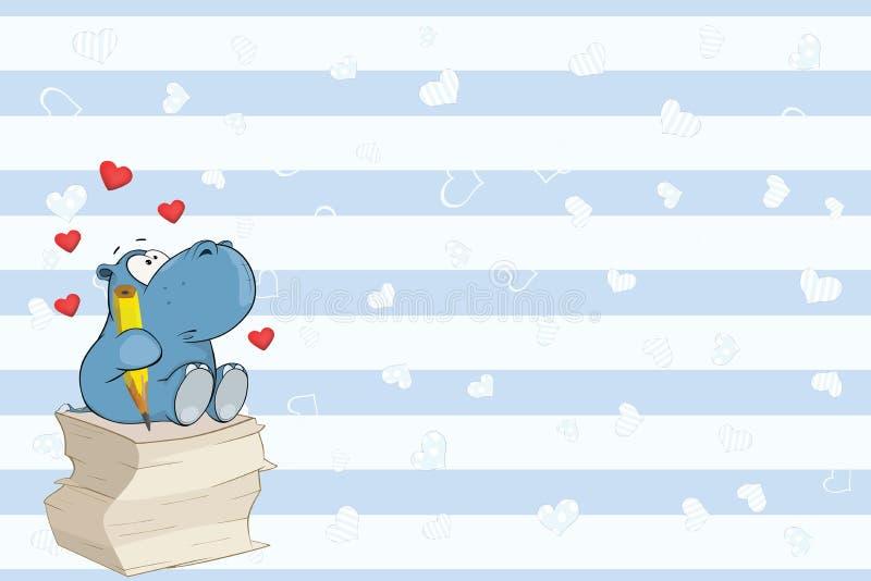 Valentin card med en gullig flodhästpoetillustration royaltyfri illustrationer