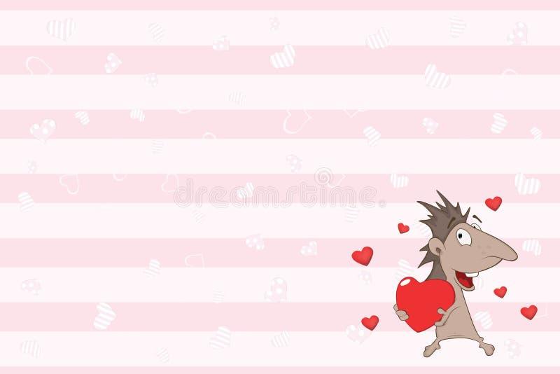Valentin card med en gullig igelkott illustration vektor illustrationer