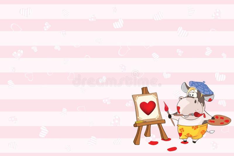 Valentin card med en gullig komålareillustration vektor illustrationer