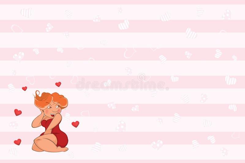 Valentin card med en gullig sexig flicka Födelsedagillustration stock illustrationer