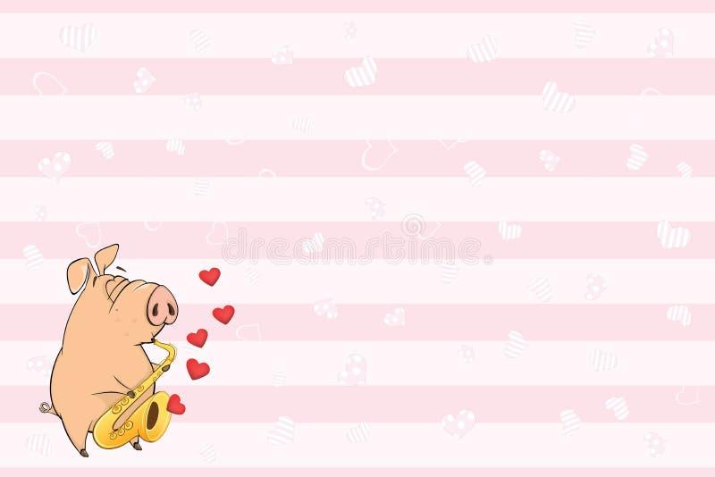 Valentin card med ett gulligt svin illustration vektor illustrationer