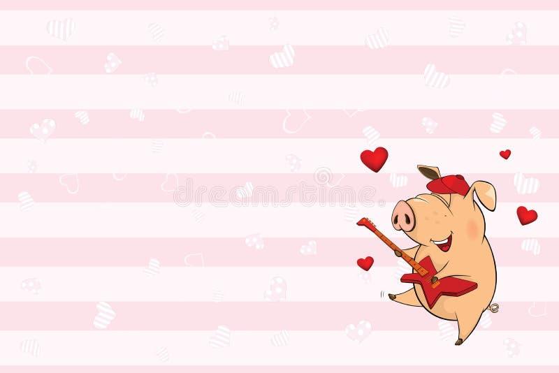 Valentin card med ett gulligt svin illustration royaltyfri illustrationer