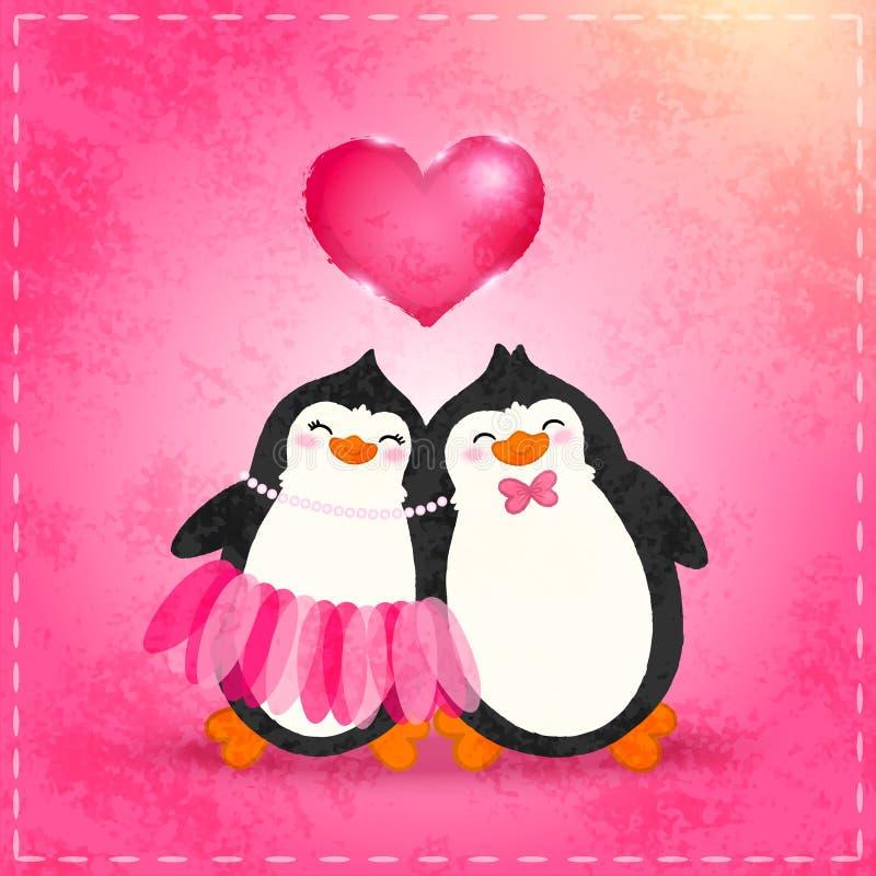 Download Valentin Card Med Tecknad Filmpenguine Stock Illustrationer - Illustration av cartoon, halsband: 37345308