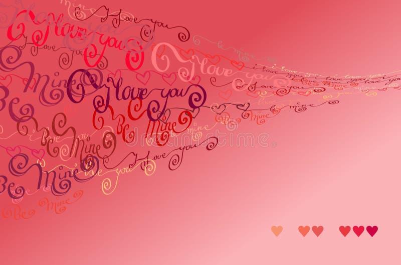 Valentin card mig älskar dig uttrycker bakgrund vektor illustrationer