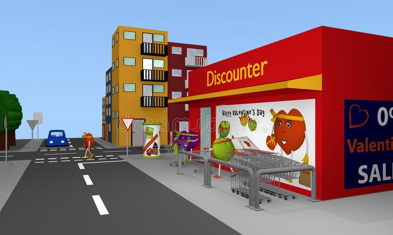 Valentin City: City view with discount stores, streets, houses a. Nd hearts. 3d rendering vector illustration