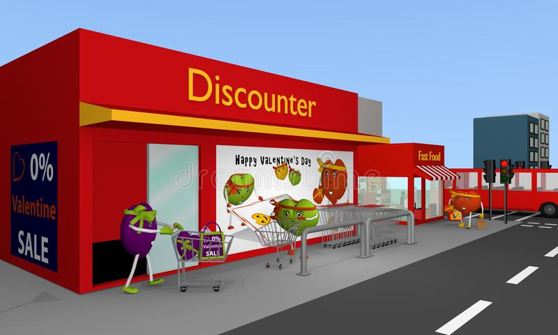 Valentin city: City view with discount store, fast food, bus, st. Reets, houses and hearts. 3d rendering royalty free illustration