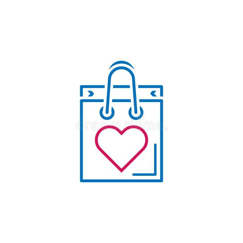 Valentin dag, öppen påse, hjärtasymbol Kan användas för rengöringsduken, logoen, den mobila appen, UI, UX royaltyfri illustrationer