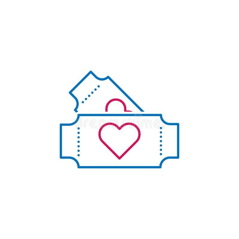 Valentin dag, biljettsymbol Kan användas för rengöringsduken, logoen, den mobila appen, UI, UX vektor illustrationer