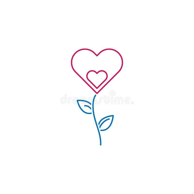Valentin dag, blomma, hjärtasymbol Kan användas för rengöringsduken, logoen, den mobila appen, UI, UX royaltyfri illustrationer